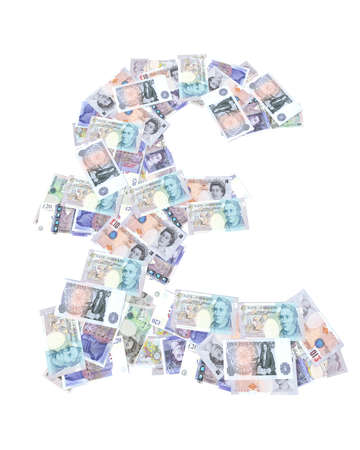 remuneraci�n: moneda de libra de s�mbolo con billetes de Banco