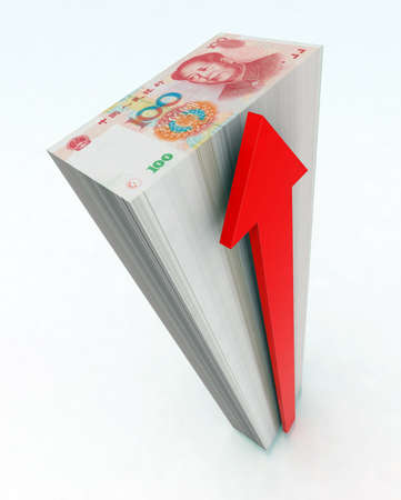 yuan: the tower of 100 yuan with red arrow 3d illustration