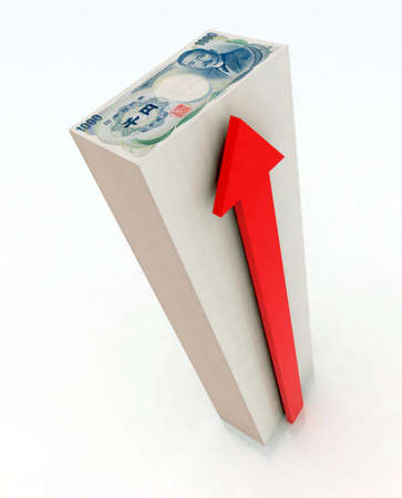 remuneraci�n: Torre de 1000 yenes con ilustraci�n 3d flecha roja
