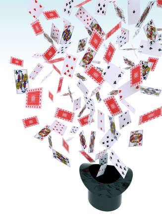 come: playing cards that come out of the hat Stock Photo