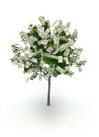 hundred dollar bill: money tree, 100 dollar notes like fruits