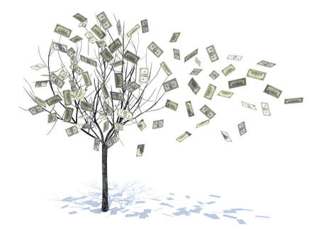 money growth: tree with leaves falling notes 3d illustration
