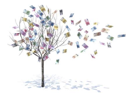 banconote euro: albero con foglie cadere osserva illustrazione 3d Archivio Fotografico