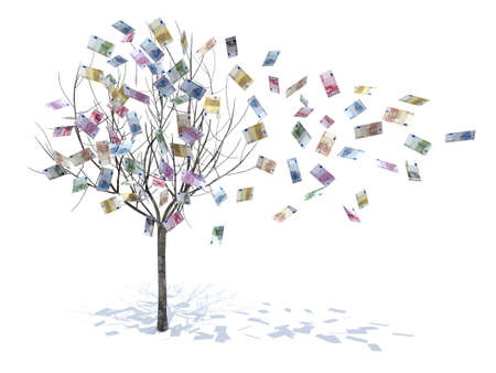 euro symbol: tree with leaves falling notes 3d illustration