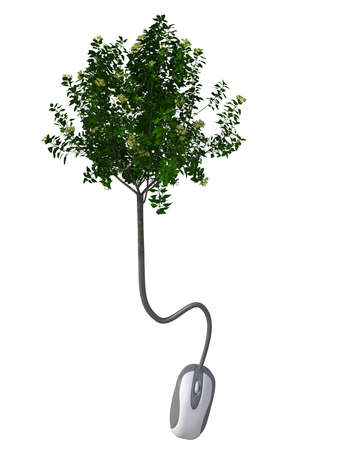 mouse cable that becomes a tree, 3d illustration illustration