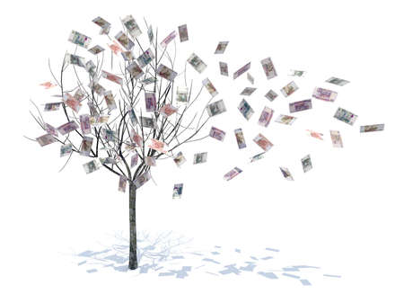 tree with leaves falling notes 3d illustration Stock Illustration - 9856797