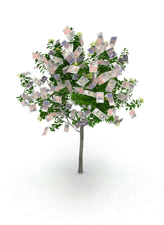 money making: money tree, pound notes like fruits