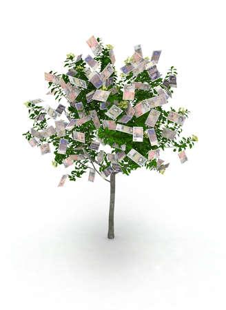 paper tree: money tree, pound notes like fruits