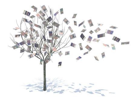 pounds money: �rbol con hojas cayendo observa ilustraci�n 3d