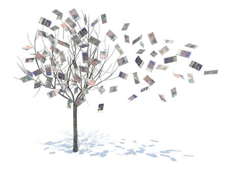currency symbols: tree with leaves falling notes 3d illustration