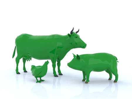 genetically modified crops: cow hen pork the happy family, 3d illustration