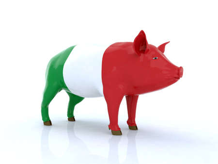 husbandry: italian pork 3d illustration