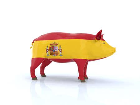 lard: 3d pork spanish flag 3d illustration