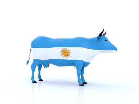 flag of argentina: Argentina vaca 3d ilustraci�n Foto de archivo