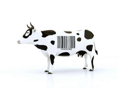 バーコードの 3 d イラスト牛します。