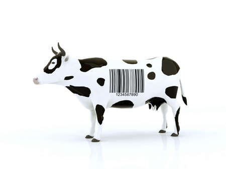 laser tag: cow with a barcode 3d illustration Stock Photo