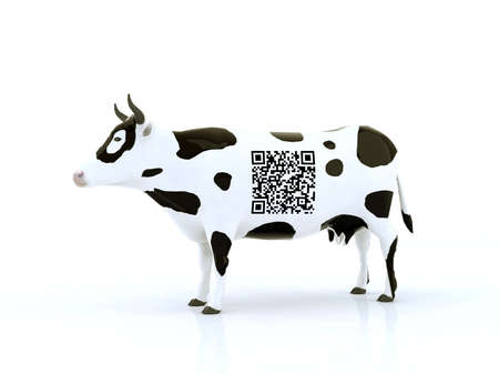 number code: cow with a qr code 3d illustration