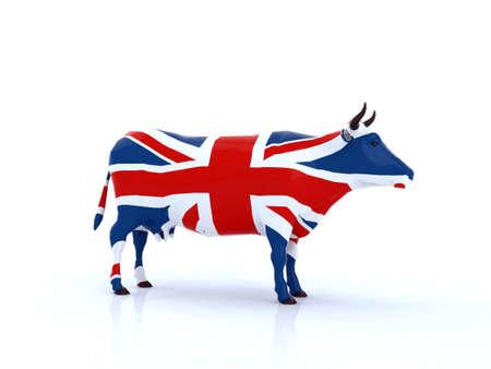 drapeau anglais: illustration 3d de vache anglais