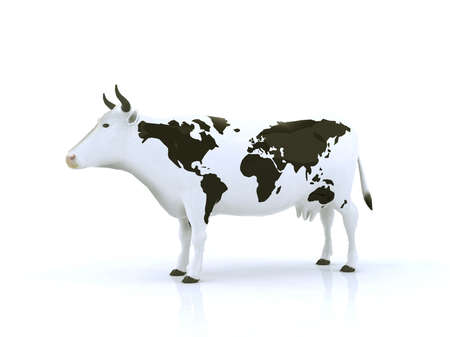 cow with black spots shaped like a globe photo
