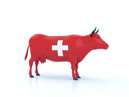 swiss alps: switzerland cow 3d illustration