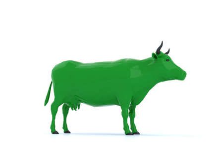 cows milk cheese: green cow for organic milk, 3d illustration Stock Photo