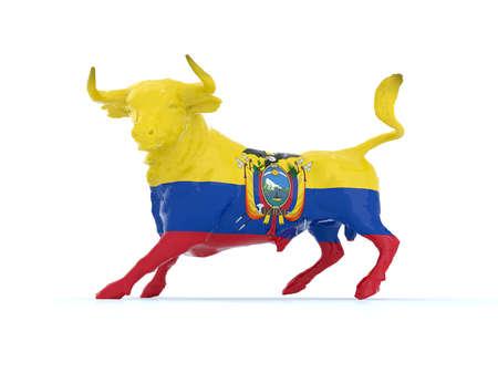 ecuador bull with flag, 3d illustration illustration