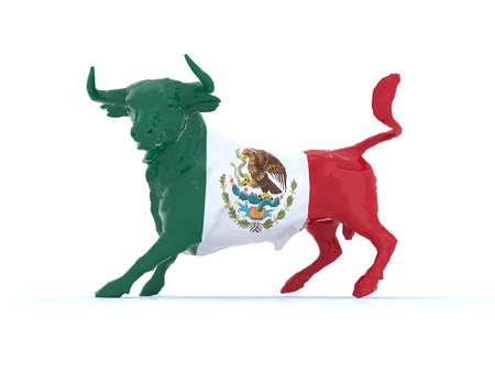 bandera de mexico: Toro mexicano con bandera, ilustración 3d