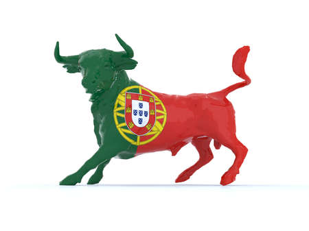 fight arena: Portuguese bull with flag, 3d illustration