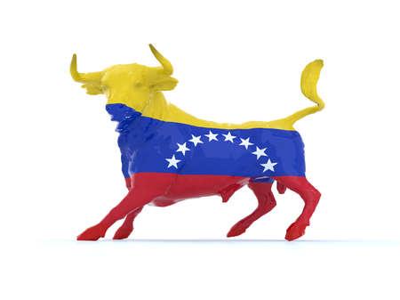 animal cruelty: venezuelan bull with flag, 3d illustration