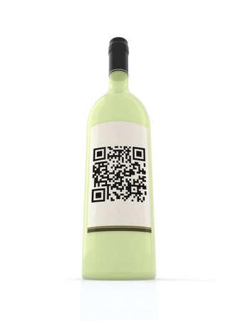 white wine bottle with qr code label, 3d illustration illustration