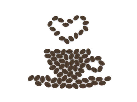 grounded: heart and cup with coffee beans, 3d illustration