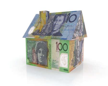 home loans: casa australiana con banconote illustrazione 3d