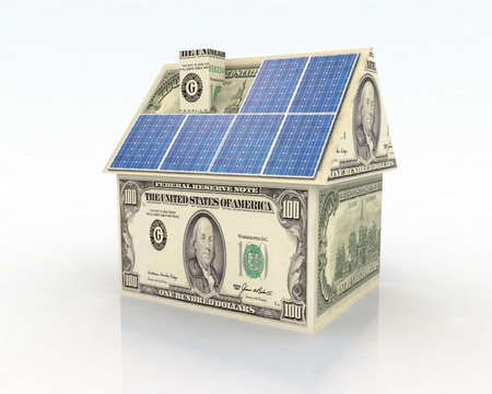 power of money: money home with solar panel concept financing Stock Photo