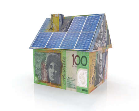money home with solar panel concept financing photo