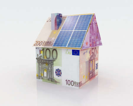 resourceful: money home with solar panel concept financing Stock Photo