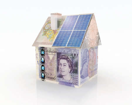 european money: money home with solar panel concept financing Stock Photo