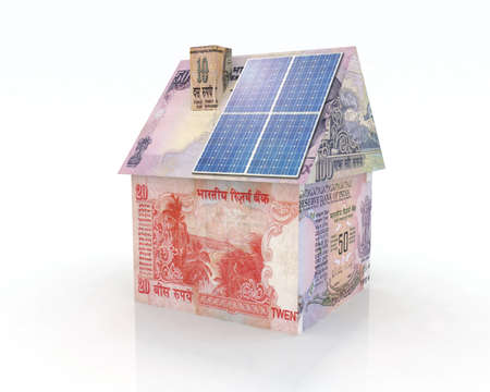 resourceful: rupee money home with solar panel concept financing Stock Photo