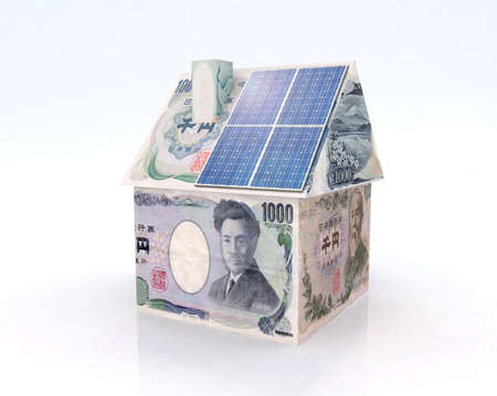 photovoltaic power station: japan money home with solar panel concept financing Stock Photo