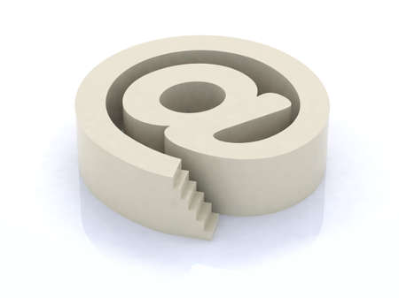 email symbol with stair 3d illustration Stock Illustration - 10044533