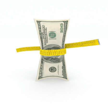 squeezing: 100 dollars money in measuring tape 3d illustration