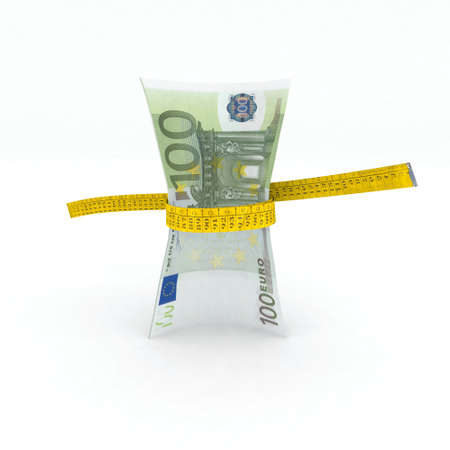 pulling money: 100 euro money in measuring tape 3d illustration Stock Photo