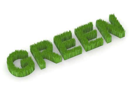 written green with grass 3d illustration Stock Illustration - 10044601
