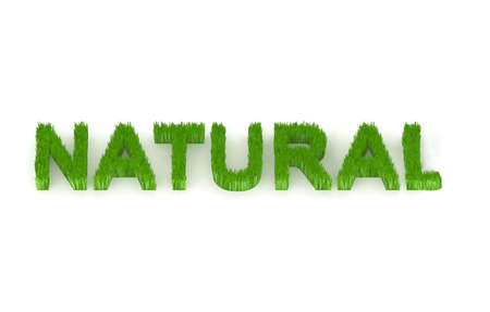 biodegradable: written natural with grass 3d illustration Stock Photo