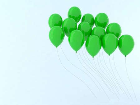 green balloon fly 3d illustration illustration