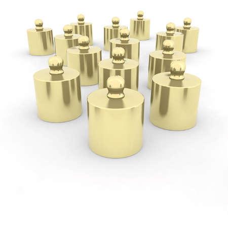 heaviness: goldbrass weights 3d illustration Stock Photo