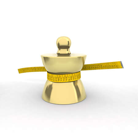 brass weight with tape meter 3d illustration illustration