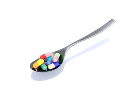 spoon with pills 3d illustration Stock Illustration - 10044527