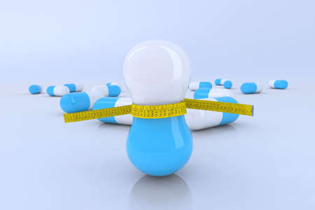 diet pills with tape meter 3d illustration Stock Illustration - 10044532