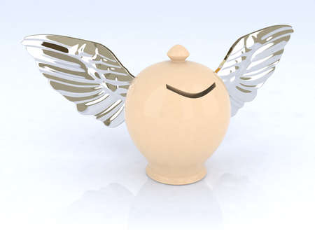 money box with wings 3d illustration illustration