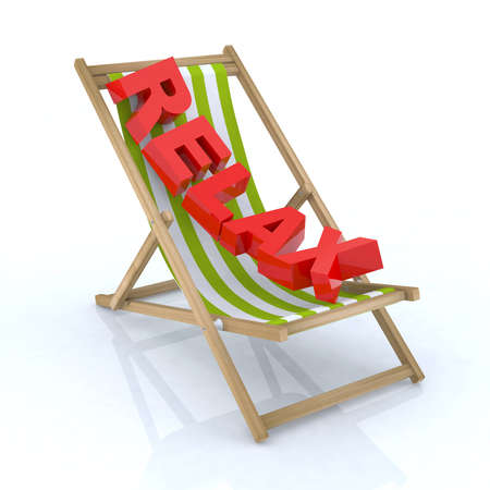 beach side: beach chair with relax written 3d illustration